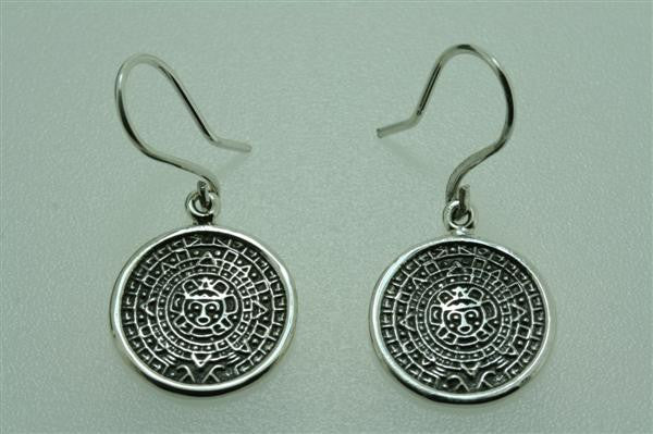 Small Mayan calendar earring - Sterling silver