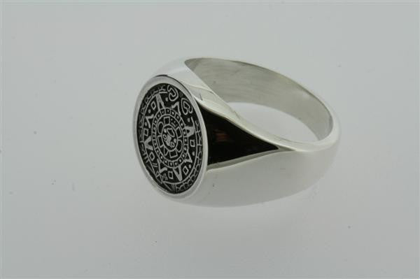 small mayan calendar signet ring