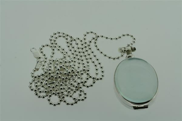 small oval resin locket on 80cm ball chain