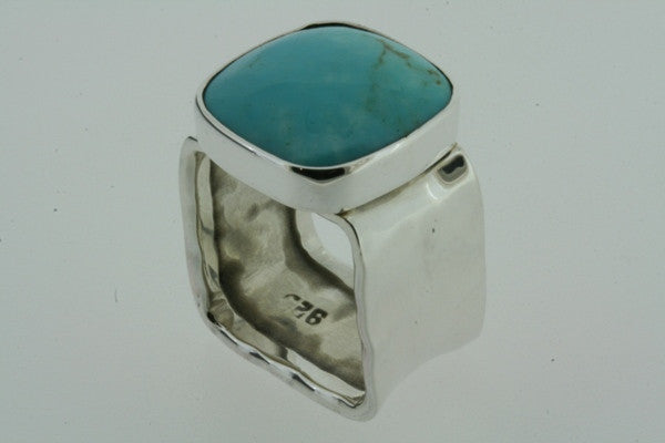 squared battered ring - turquoise