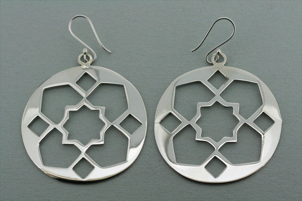 star cutout large circle earring