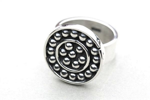 beaded disc ring - sterling silver