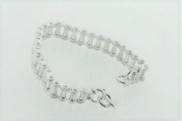 sterling silver bicycle chain bracelet