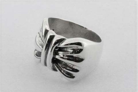 bow signet ring - sterling silver