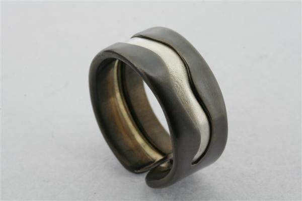 Swerve titanium/silver ring - silver - sterling silver and titanium