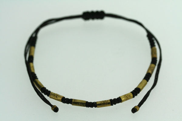 black thread brass bead bracelet