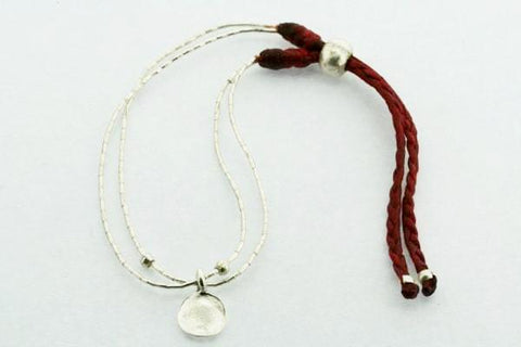 2 Strand Bracelet - Grey - Battered Circle