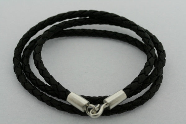 3 wrap plait silver link bracelet - black