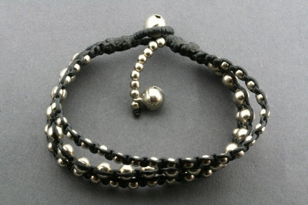 3 strand metallic bead black thread bracelet