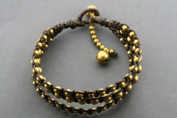 3 strand brass bead choc thread bracelet