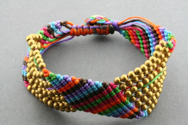 7 strand zigzag bracelet - muted colour
