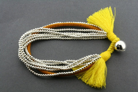 5 strand metalic bead bracelet - yellow