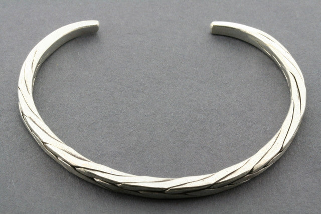 rec edge plaited cuff - pure silver