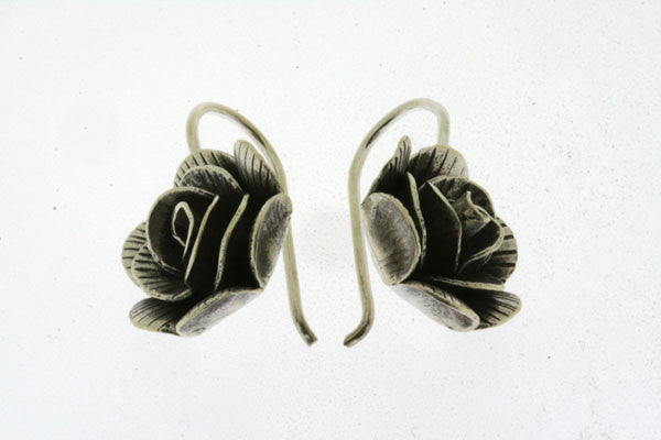stripe rose hook earring