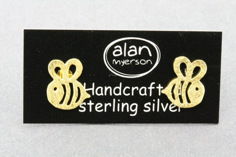 Bee stud - 22 Kt gold over silver