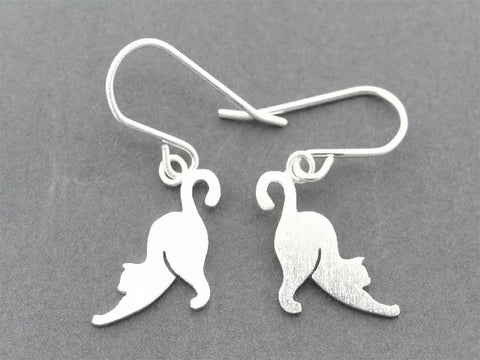 stretching cat drop earrings - sterling silver