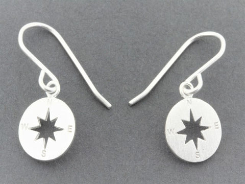 compass drop earring - sterling silver