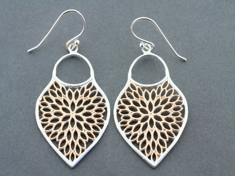 mosaic shield earring - rose gold on silver