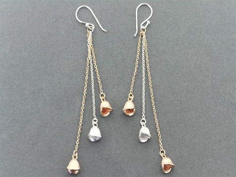 3 bell seed chain drop earring - rose gold on silver