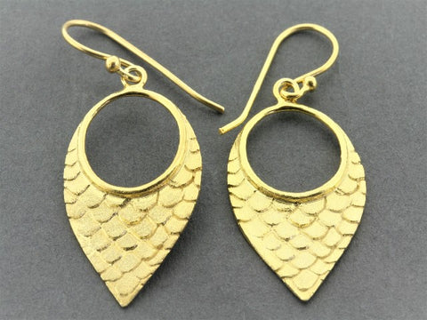 mermaid tear earring - 22Kt gold over silver