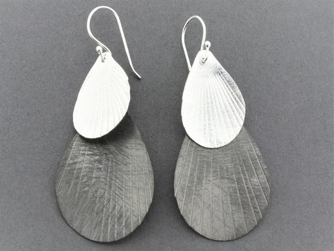 silver and oxidized double teardrop earring