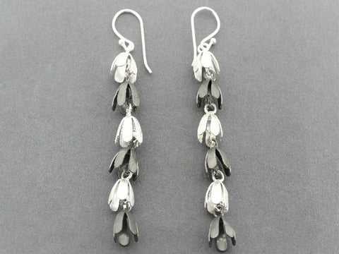 forget me not chain drop earring - silver & oxidized