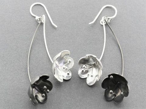 Blossom drop earring - silver & oxidized