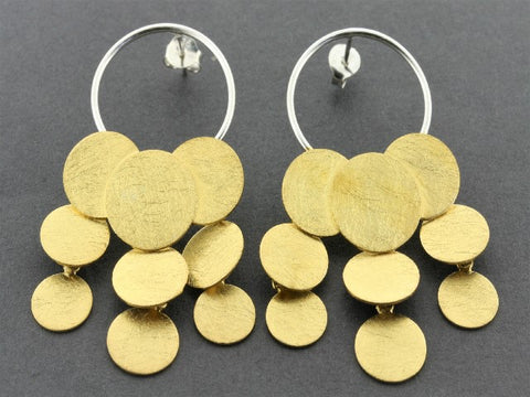 rain circle chandelier earring - 22 Kt gold on silver