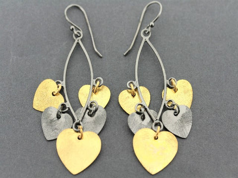 Love heart chandelier earrings - 22 Kt gold & oxidized silver