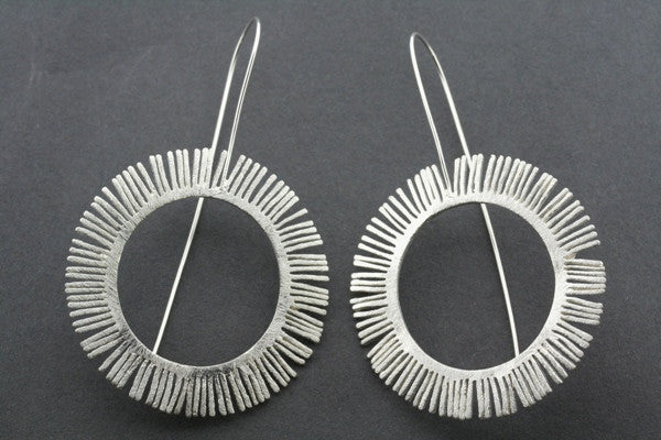 feathered circle earring