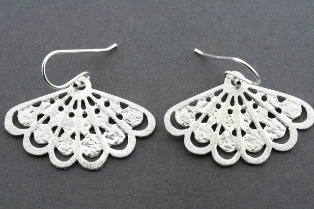 foiled fan earring - sterling silver