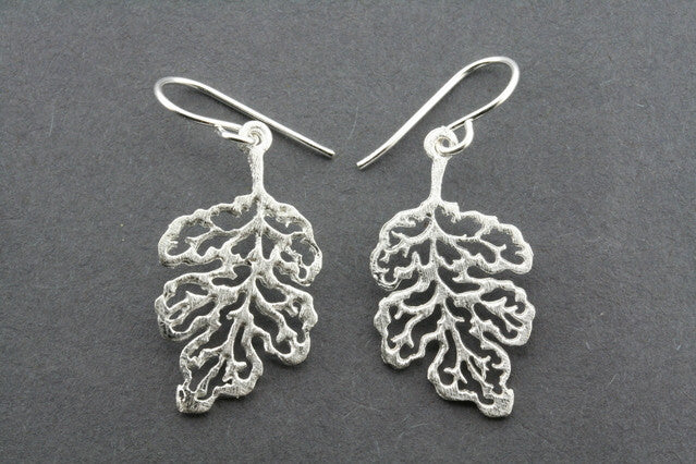 lace maple leaft earring - sterling silver