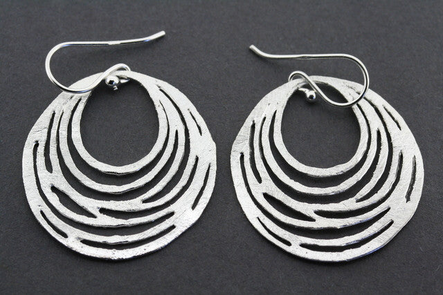 multi loop textured hoop earring - sterling silver