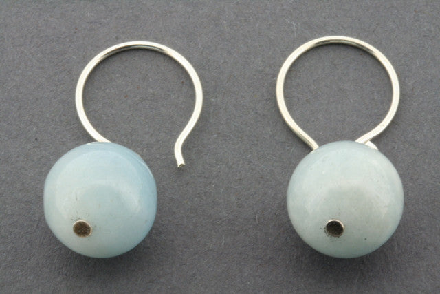 aquamarine ball drop earring