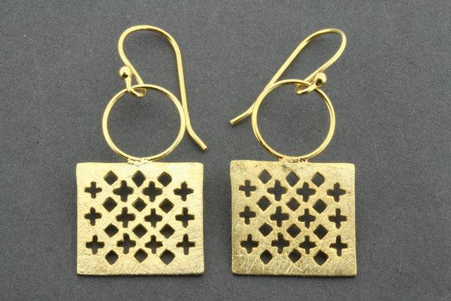 square cutout earring - gold plated