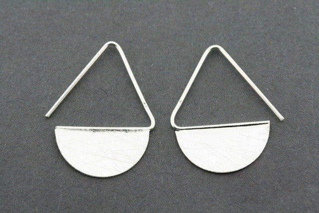 half moon disc drop earring - sterling silver