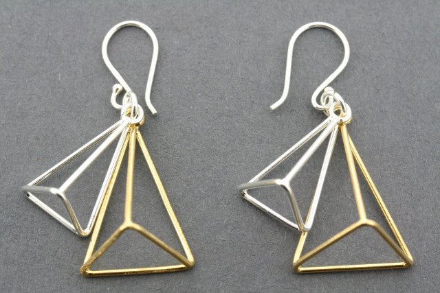 double pyramid earring - gold plated