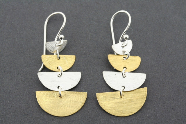 4 x half moon drop earring - gold plated