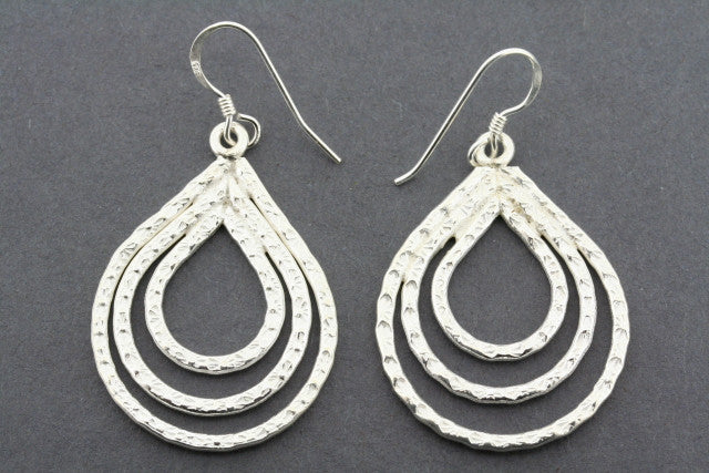 3 textured teardrop earring - pure silver