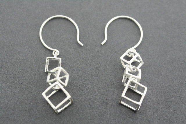 3 x cube drop earring