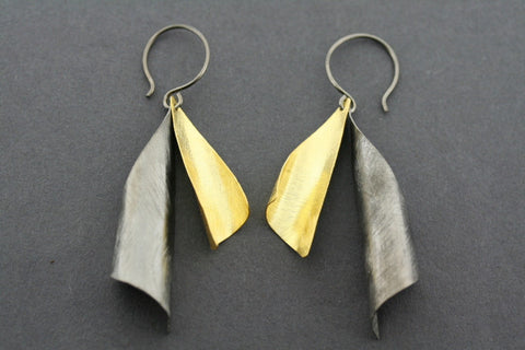 2 Drop Earring - gold plated & oxidized