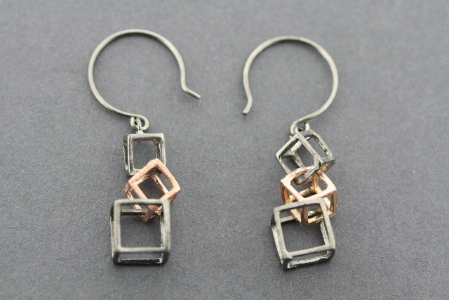 3 x cube earring - rose gold plated & oxidized
