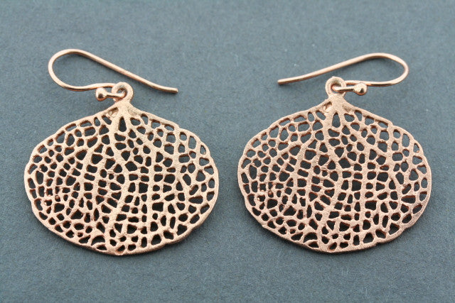 bohdi leaf earring - rose gold plated