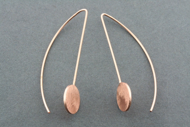 long drop scratched disc earring - rose gold plated