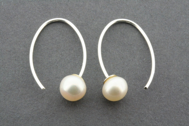 small pearl fixed hoop - sterling silver
