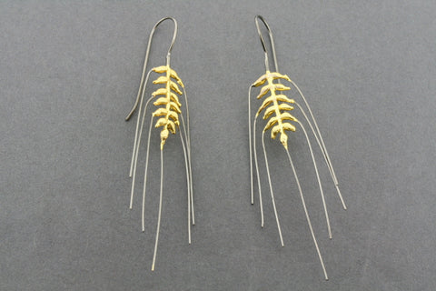 oxidized & gold plated wheat earring