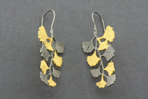 oxidized & gold plated gingko branch earring