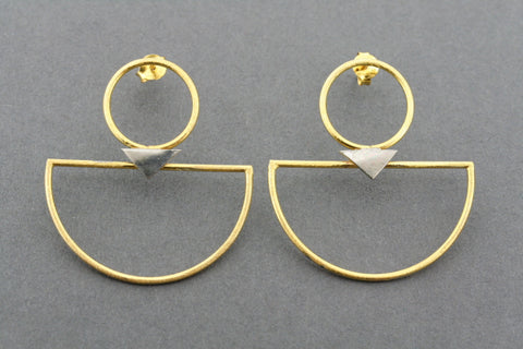 gold plated & oxidized deco hoop