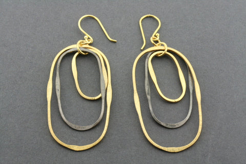 gold plated & oxidized 3 oval hoop earring
