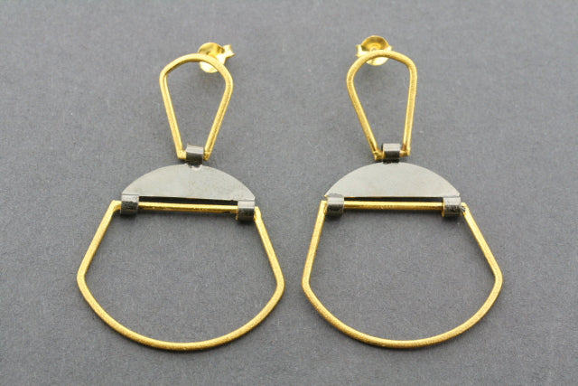 gold plated & Oxidized hinge deco earring